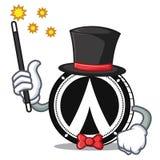 Magician Dentacoin mascot cartoon style. Vector illustration Stock Images