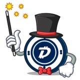 Magician Digibyte coin mascot cartoon. Vector illustration Royalty Free Stock Photography