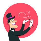 Magician doing a trick with Magic wand.Vector background illustr. Magician doing a trick with Magic wand.Vector illustration of wizard in hat. Background Stock Photography