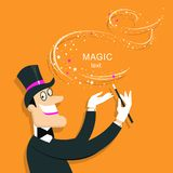 Magician doing a trick with Magic wand.Vector background illustr. Magician doing a trick with Magic wand.Vector illustration of wizard in hat. Background for Royalty Free Stock Photos