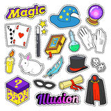 Magician Elements Set with Magic Wand, Mask and Cylinder for Stickers, Badges Stock Image