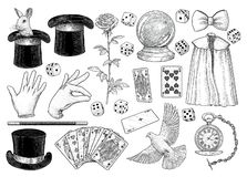 Magician equipment collection illustration, drawing, engraving, ink, line art, vector. Illustration, what made by ink and pencil on paper, then it was vector illustration