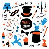 Magician equipment collection. Magic elements and symbols, illusionist tools for tricks. Funny doodle hand drawn illustration. royalty free illustration