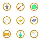 Magician equipment icons set, cartoon style Stock Photography