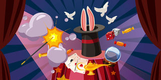 Magician explode banner horizontal, cartoon style Stock Photos