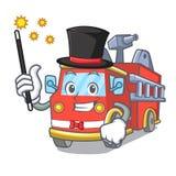 Magician fire truck mascot cartoon. Vector illustration Stock Images