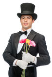 Magician with flowers Royalty Free Stock Photos