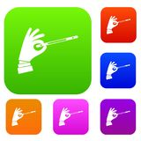 Magician hand with a magic wand set collection Royalty Free Stock Photos