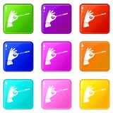 Magician hand with a magic wand set 9 Stock Image
