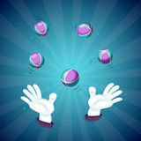 Magician hands show magic trick Stock Photos