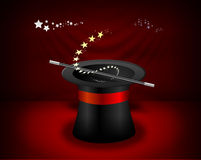 Magician Hat. Vectorial magician hat on a stage, ready for magic Stock Images