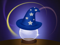 Magician hat on crystal ball. Illustration of magician hat on crystal ball Royalty Free Stock Image