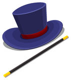 Magician hat and magic wand Stock Image
