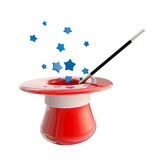 Magician hat and magic wand with stars. Inside it, isolated on white Stock Photography