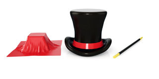 Magician hat, magician wand and cube with red cloth isolated on white Stock Image