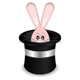 Magician hat with rabbit. Magician�s hat with rabbit isolated over white background Royalty Free Stock Photography