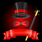 Magician Hat. With Magician Wand, Bow Tie and Ribbon, vector icon Royalty Free Stock Photos