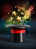 Magician hat with wand and sparkles Royalty Free Stock Image