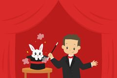Magician and White Rabbit in a Hat Cartoon Vector. Magician holding magic wand performing magic trick, and a rabbit in a hat. Cartoon Royalty Free Stock Photography