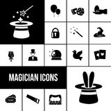 Magician icons black set Stock Image