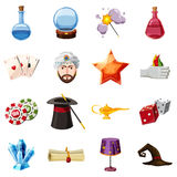 Magician icons set items, cartoon style Royalty Free Stock Images
