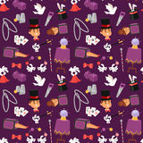 Magician illusionist vector seamless pattern background. Illusionist in purple tailcoat with white bunny fantasy witchcraft theater. Wizard hat entertainment Stock Images
