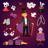 Magician illusionist vector set. Royalty Free Stock Images