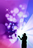 Magician illustration. Magician performing white and colorful lights - illustration Royalty Free Stock Photos