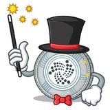 Magician IOTA coin character cartoon. Vector illustration Stock Photos