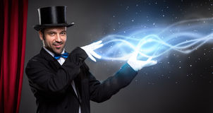 Magician from leading his show Royalty Free Stock Photography
