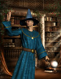 Magician in the library. 3D rendering mage with blue robe in a library royalty free illustration