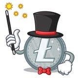 Magician Litecoin character cartoon style. Vector illustartion Royalty Free Stock Photos