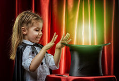 Magician. The little magician does tricks Stock Photography