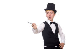 Magician with magic stick isolated on white Stock Image
