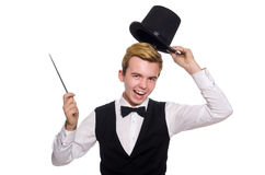 The magician with magic stick on white Royalty Free Stock Image