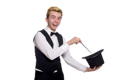 The magician with magic stick on white Royalty Free Stock Images