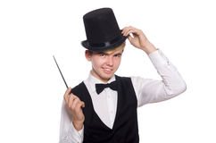 The magician with magic stick on white Stock Photo