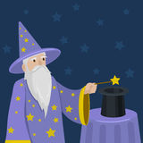Magician with a magic wand and cylinder vector Royalty Free Stock Images