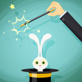 Magician with magic wand and a rabbit in a hat.. Stock  illustration Stock Photography