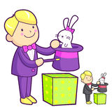 The magician magically pulled a rabbit out of his hat. Work and Royalty Free Stock Images