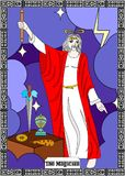 Magician man card. The illustration - card for tarot - the magician Stock Image