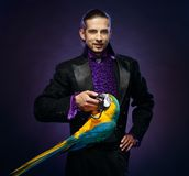 Magician man in stage costume Royalty Free Stock Image