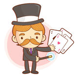 The Magician mascot is a card trick playing. Work and Job Charac Stock Photography