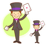 The Magician mascot is a card trick playing. Work and Job Charac Royalty Free Stock Photo