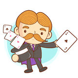 The Magician mascot is a card trick playing. Work and Job Charac Stock Images