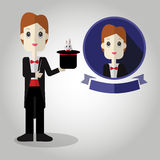 Magician Mascot cartoon great for any use. Vector EPS10. Royalty Free Stock Images