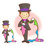 Magician mascot in Using a cloth magic. Work and Job Character D Stock Images