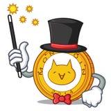 Magician Monacoin mascot cartoon style. Vector illustration Royalty Free Stock Image