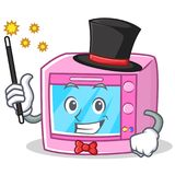 Magician oven microwave character cartoon Stock Image
