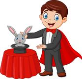 Magician performing his trick rabbit appearing from a magic top hat. Illustration of Magician performing his trick rabbit appearing from a magic top hat royalty free illustration